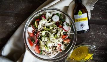Olej słonecznikowy Olini tłoczony na zimno idealny do sałatek